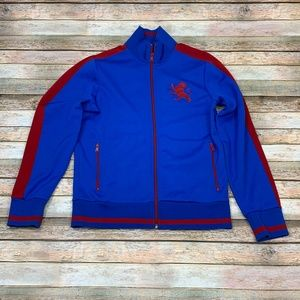 Express Track Jacket Blue Red Logo Men's Small